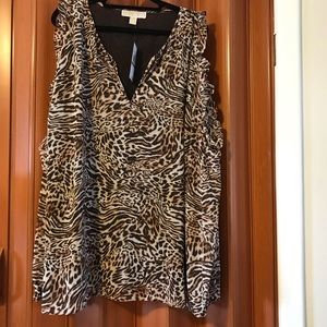 Michael Kors animal print cold shoulder top. Size